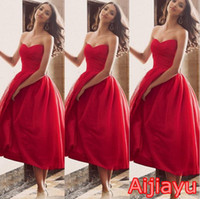 al por mayor dre rojo-La graduación roja caliente superventas del vestido de bola viste el vestido formal del partido de las muchachas barato más el vestido corto del baile de fin de curso Vestidos de formatura La tarde Dre