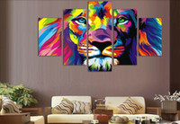 Wholesale 5Panels set Colorful Tiger Head Painting On Wall Painting Canvas Wall Art Picture Home Decoration Living Room Canvas Print Modern Painting