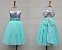 baby blue dresses for juniors - Silver Sequin Mint Tulle Flower Girls Dress Baby Infant Toddler Kids Dress Juniors For Wedding Pageant Tulle Gowns