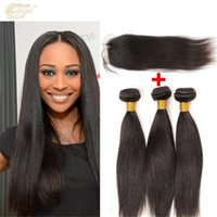 Wholesale Hair extensions A peruvian virgin hair straight bundles straight hair with closure unprocessed straight hair lace closure x4 inch