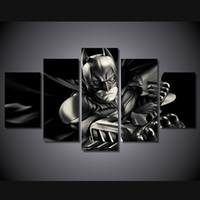 Wholesale 5 Set Framed Printed batman dark knight comics Group Painting Canvas Print room decor print poster picture canvas ny