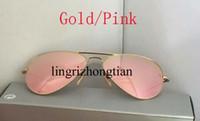 al por mayor los hombres gafas de sol espejo-La mejor marca de fábrica de la marca de fábrica del diseñador del oro del color de rosa del espejo de las gafas de sol de los hombres de la playa 58m m 62m m Sunglass con la caja
