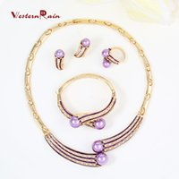 Bracelet,Earrings & Necklace beautiful halloween costumes - WesternRain Latest Beautiful Gold Costume Jewelry Set Accessories for Women Dress K Gold Plated Party purple Pearl Fashion Jewelry A097