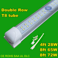 Cheap T8 Integrated Double row led tube 4ft 28w 8ft 65w 72w SMD2835 led Light Lamp Bulb 4 foot 8 foot led lighting fluorescent