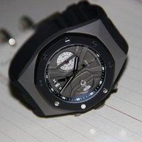 ap strap - Brand new ap mens watch chronograph quartz movement stopwatch black rubber strap sihh display mm