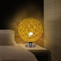 Wholesale 220v Creative Rattan Ball design table lamp Diameter cm Takraw night light for Bedroom Bedside living room