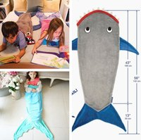 animal shaped bags - 5 Styles Kids Mermaid Blanket cm Shark Shaped Sleeping Bag Soft Warm Bed Sleeping Sofa Blanket Air condition Cocoon Costume PPA394