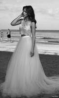 venda por atacado topos de corte personalizadas-2017 Vestidos de casamento boêmio duas peças Lihi Hod Beach Bridal Gowns Romântico Embellished sem mangas Crop Top Full Tulle saia Custom Made