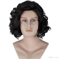Wholesale Short Brown Men Curly Wig - Rcoto FREE SHIPPING>>>Jon Snow Wig Short Curly Hair Men for Halloween Black brown Color Movie Cosplay Wig