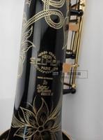 b flat sound - selmer802 soprano Sax integrated tube wind B flat black paint gold carved sound