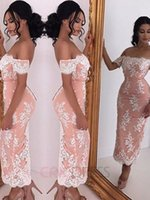Wholesale Blush Pink Sheath Evening Dress Hot Sexy Off shoulder Vestido de Festa New Arrive Formal Gowns With Sleeve Tea Length Party Dresses