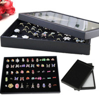 Cheap 100 pcs Rings Jewellery Display Storage Box Tray Show Case Organiser Earrings Holder in black color