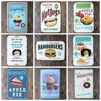 Wholesale Hot sales quot Cake dessert hamburger quot Food Tin signs movie poster Art House Cafe Bar Vintage Metal Painting wall stickers home decor x30 CM