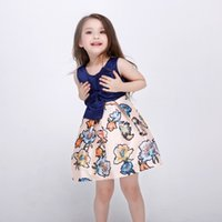 Wholesale spring Summer new brand girl dress year old children ball gown Princess dresses sleeveless o neck Big bow printing
