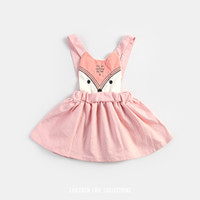 sundresses - 2016 Summer Sweet Kids Girls Fox Sundress Embroider Halter Pink Dress Sweet Baby Kids Cartoon Cute Dress