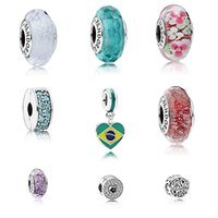 Wholesale 2016 Summer New Sterling Silver Charms Flower faceted murano glass clip hearts pendant beads fits for pandora bracelets jewelry