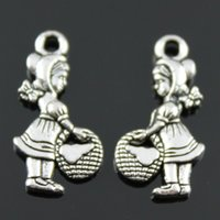 antique silver baskets - 100pcs mm Antique Silver Plated Double Side Girl with basket Charms