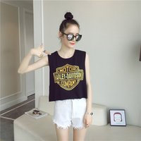 Wholesale Fashion cotton Harley letters print back split dovetail midriff baring tank T shirt sleeveless vest T shirt crop top