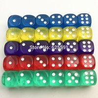 Wholesale wholesales mm set acrylic transaprent d6 dice sided gambling small dice for sale red blue green yellow purple colors