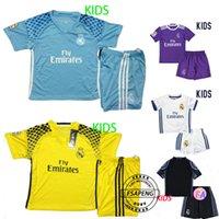 Wholesale 2016 real madrid jersey RONALDO JAMES BALE Shirts KIDS yellow cheap Thai Quality soccer uniforms kit