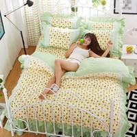 Wholesale Best Sales Princess Girls Bedclothes Lovely Printed Duvet Cover Set Home Textile Lace Bedding Set Single Queen King Size JA0135