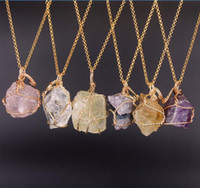 agate wire necklace - Natural Druzy Agate Crystal Quartz Nuggest Pendant Necklace Gold Plated Wire Wrapped quot inches Gemstone Necklace Pendant