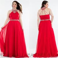 Wholesale Cheap Plus Size Prom Dresses Long Red Chiffon High Neck Crystal Beading Beads Strap Criss Cross Backless Dresses Evening Wear Party