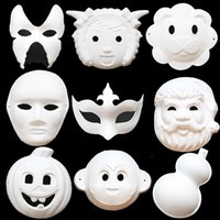 Wholesale Children DIY Handmade Material Kindergarten Kids Handcrafts Kits Handmade Paper Pulp Mask Hand Painted Masks For Christmas DY05