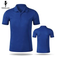 Wholesale Troilus Short Sleeve Solid Color Turn Down Collar Slimming Men s Polo Shirt