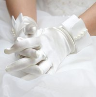 Wholesale 2016 Satin Short Wedding Bridal Gloves Pearls White Ivory Full Fingers Fall Winter Wedding Accessories Bridal Gloves