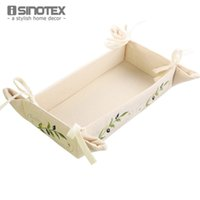 bamboo plant food - Embroidered Storage Box Bin Bread Box Leaves Plant Embroidery Snack Candy Basket Toast Container Folding Rustic Breadbox