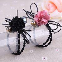 Wholesale Hot Women Lovely Cloth art flower set auger hair bands Hair Rope Crystal Hair Band Elastic Headband Gift