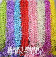 Wholesale Wedding party favors Artificial flowers M Silk Flowers Long Wisteria Vine Rattan For Wedding home Christmas decorations HW010