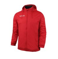 Wholesale Kelme K15S604 Men Medium long Stand Collar Hooded Waterproof Windproof Sport Football Training Raincoats Red