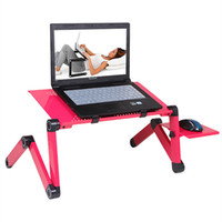 Wholesale 360 Degree Portable Foldable Metal Laptop Notebook Computer Stand Tables Cooling Fan Pannel Desk Bed Office Sofa Tray Notebook Computer Desk