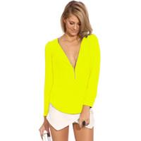 Wholesale 2pc Sexy Women s Zipper V neck Chiffon Shirt Blouse Tops Long Sleeve Fashion Casual Sample Style Blouse T shirts