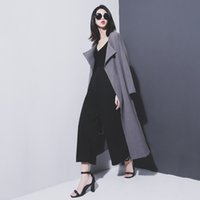 belt two rings - Early winter women s trench coats belt with a metal ring woolen cloth two colors