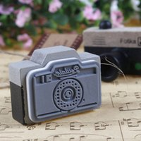 Wholesale Azerin Lovely Model Korea Wooden retro Camera Rubber Stamp Seal Gray Brown DIY