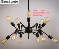 Halogen incandescent bulb - Spider Chandelier Vintage Wrought iron Pendant lamp Loft American Style Lighting Fixture Edison bulbs for free V026