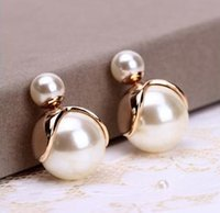 Wholesale imitation pearl earrings fashion trendy coated printed double created simulated pearl ear stud earrings for women