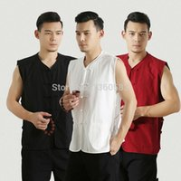 Wholesale Chinese wind tang suit sleeveless Vest cotton coarse linen vest summer men s national costume kung fu tai chi clothing shirt