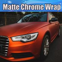 aluminum foil rolls - Matte Chrome orange Vinyl Wrap Car Wrap With Air Release Metallic matt chrome foil Car stickers Film x20m Roll ft ft