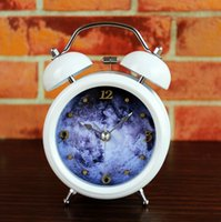 Wholesale Mysterious moon iron bell clock fashion creative D metal moon desktop desk table alarm clocks study decorations high quality