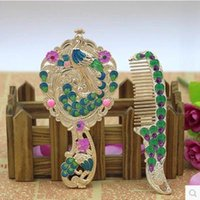 Wholesale creative peacock mirror and comb wedding and Christmas products home decorative arts and crafts