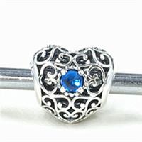 Authentic 925 Sterling Silver Décembre Signature Coeur Charme Perle avec London Blue Crystal Fit Européenne Bijoux Bracelets Collier