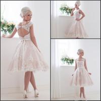 beach garden house - 2016 New Short Wedding Dresses Keyhole Back Lace Knee Length Summer Beach Bridal Gowns with Appliques House of Mooshki Vestido De Novia