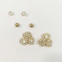 Wholesale New Delicate trio stone post earring prs a set small rounds and flower glass stones stud earring