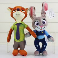 Wholesale Free DHL Zootopia Movie Zootopia cm plush toys Nick Wilde and Judy Hopps Fox Rabbit Stuffed Cartoon Dolls Best Gift Cute Plush Toys