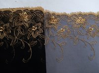 Wholesale New African Cord Lace Fabric Trims Embroidery Gold Amber Sequin Black Nylon Mesh Width quot For Elegant Cocktail Wedding Dress JIAOLUN