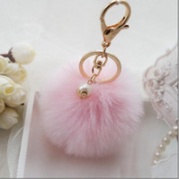 Wholesale 2016 fashion Fur Pearl Key Chains Lady Accessories Fashion Jewelry Multi Colors Key Rings Cute Fuzzy Ball Women Hangings G123